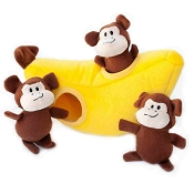 ZippyPaws Burrow Hide and Seek Monkey 'n Banana Squeaky Plush Dog Toy