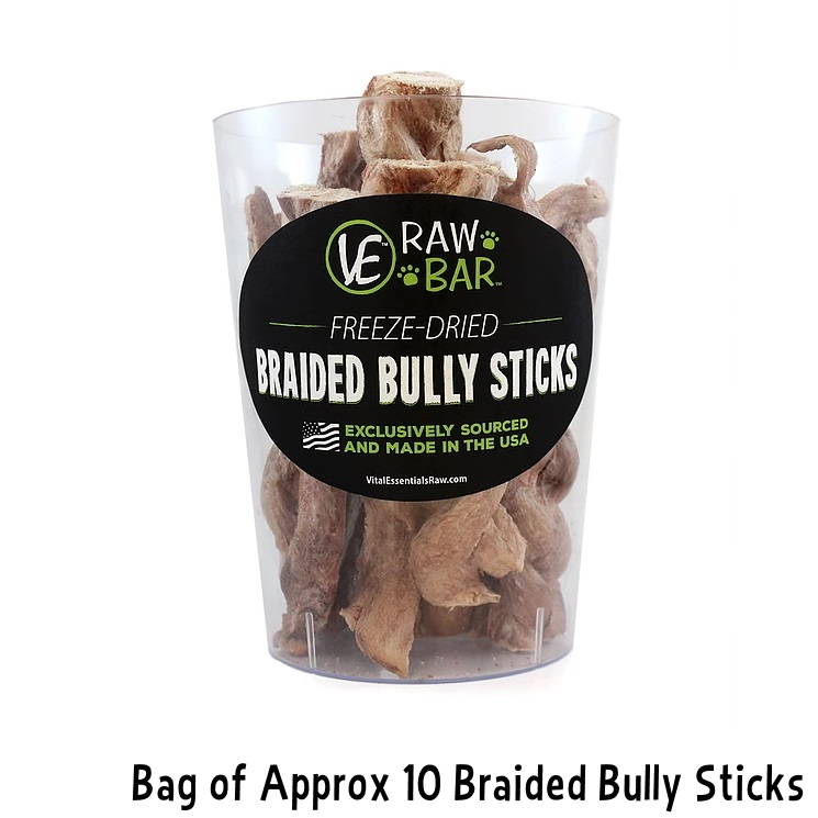 vital essentials raw bar freeze dried braided bully sticks dog treats approx. Black Bedroom Furniture Sets. Home Design Ideas