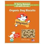 Wagatha's P. Nutty Banana with Apples & Flaxseed Organic Dog Biscuits, 16-oz Box