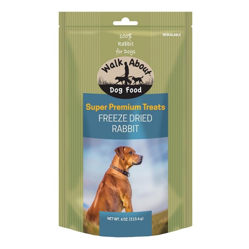Walk About Premium Freeze Dried Rabbit Dog Treats 4 Oz Bag
