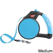Wigzi Retractable Gel Leash for Dogs, Blue, Medium