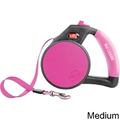 Wigzi Retractable Gel Leash for Dogs, Pink, Medium