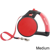Wigzi Retractable Gel Leash for Dogs, Red, Medium