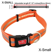 Wigzi Waterproof Dog Collar, Orange, X-Small