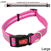 Wigzi Waterproof Dog Collar, Pink, Large