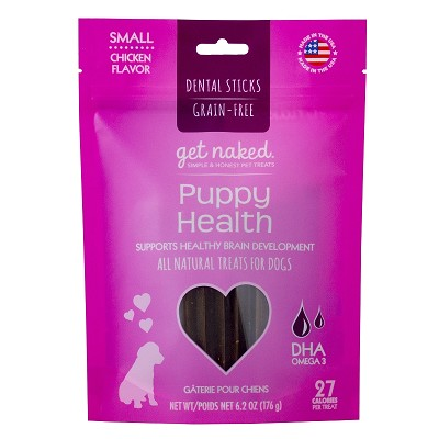 Get Naked Puppy Health Grain-Free Dental Chew Sticks Dog Treats, Small
