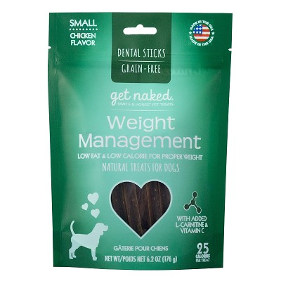 Get Naked Weight Management Grain-Free Dental Chew Sticks Dog Treats, Small
