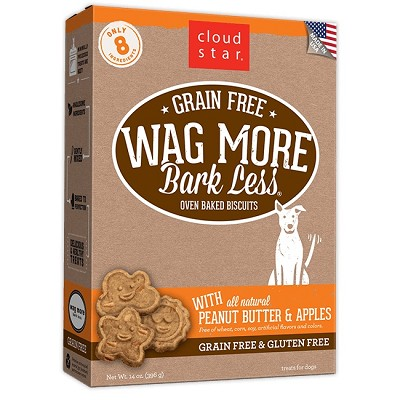 Cloud Star Wag More Bark Less Grain-Free Oven Baked with Peanut Butter & Apples Dog Treats, 14-oz box