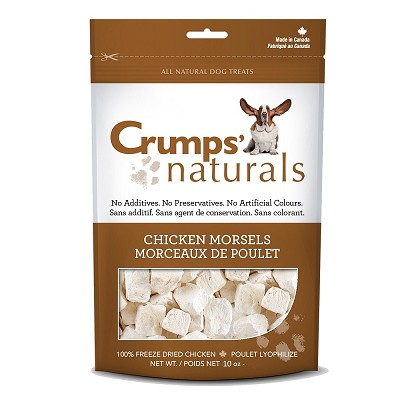 Crump's Naturals Chicken Morsels Freeze-Dried Dog Treats, 10-oz Bag