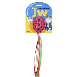JW Pet Football with Streamers Cat Toy