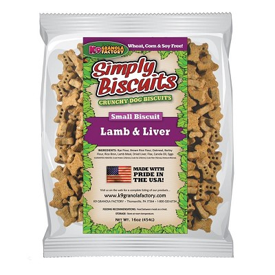 K9 Granola Factory Simply Biscuits Lamb & Liver Dog Treats, Small