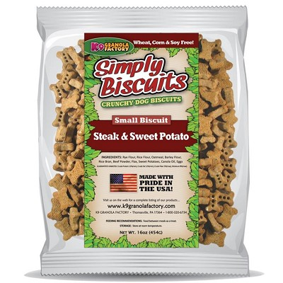 K9 Granola Factory Simply Biscuits Steak & Sweet Potato Dog Treats, Small