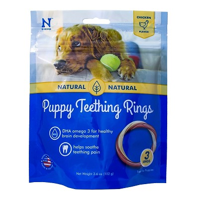 N-Bone USA Puppy Chicken Teething Ring Dog Treats, 3 Count