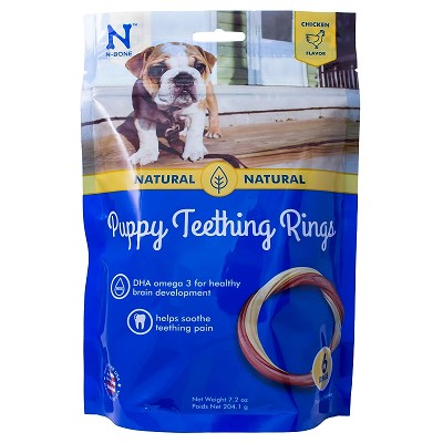 N-Bone USA Chicken Flavored Puppy Teething Ring Treats, 6 Count