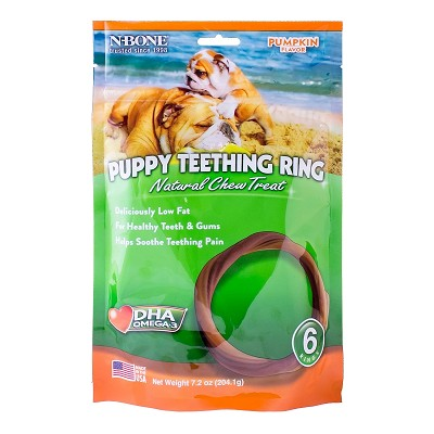 N-Bone USA Pumpkin Flavored Puppy Teething Ring Treats, 6 Count
