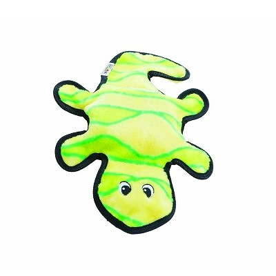Outward Hound Invincibles Gecko Green/Yellow Dog Toy, 2 Squeaker