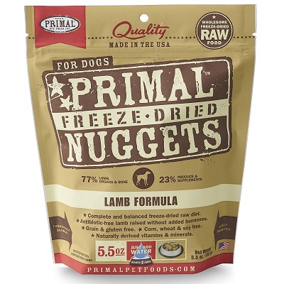 Primal Lamb Formula Nuggets Freeze-Dried Dog Food, 5.5-oz Bag