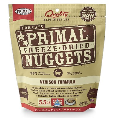 Primal Venison Nuggets Freeze-Dried Cat Food, 5.5-oz Bag