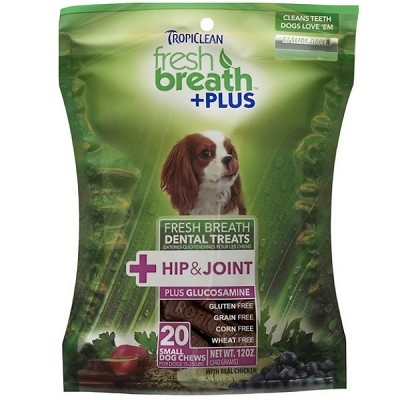 TropiClean Small Fresh Breath + Plus Hip & Joint Dental Dog Treats, 20 Count