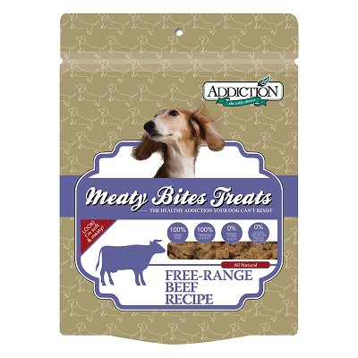 Discontinued, Addiction Meaty Bites Beef Recipe Grain-Free Dog Treats, 4 Ounces