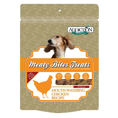 Discontinued, Addiction Meaty Bites Chicken Recipe Dog Treats