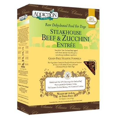 Discontinued, Addiction Grain-Free Steakhouse Beef & Zucchini Entree Raw Dehydrated Dog Food, 2 lb