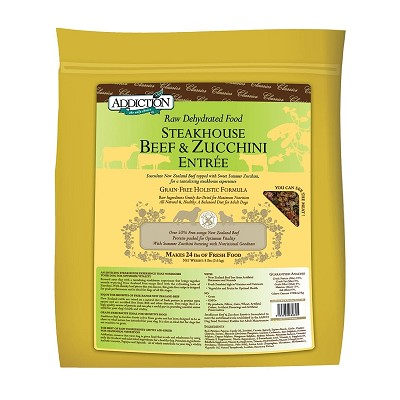 Discontinued, Addiction Grain-Free Steakhouse Beef & Zucchini Entree Raw Dehydrated Dog Food