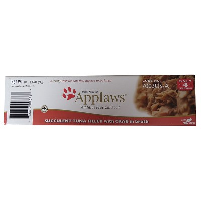 Applaws Tasty Tuna with Crab Peel Top Moist Cat Food, Case of 18