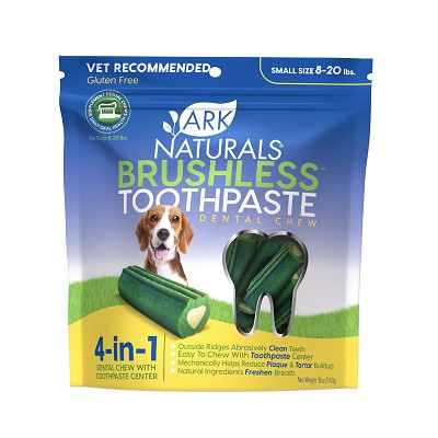 Ark Naturals Brushless Toothpaste Small Dental Dog Chews, 12-oz Bag
