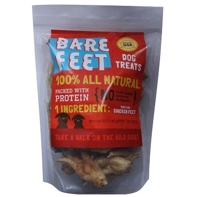 Bare Bites Chicken Feet Dehydrated Dog Treats, 30-Count