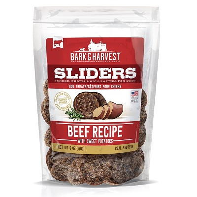 Bark & Harvest Sliders Beef Recipe with Sweet Potatoes Dog Treats, 6-oz Bag