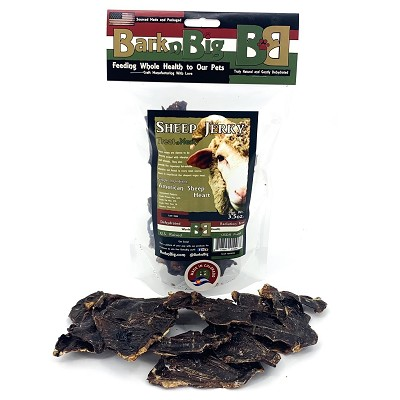 BarknBig USA Sheep Heart Jerky Dehydrated Dog Treats, 3.5-oz Bag