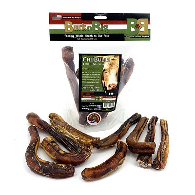 BarkNBig USA Odor Free Chubull Thick Beef Bully Sticks Dog Treat, 1-lb Bag