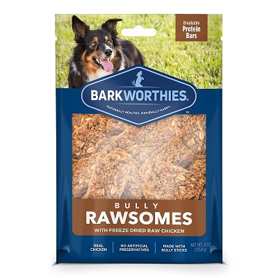 Barkworthies Bully Rawsomes with Freeze-Dried Raw Chicken Dog Treats, 4-oz bag