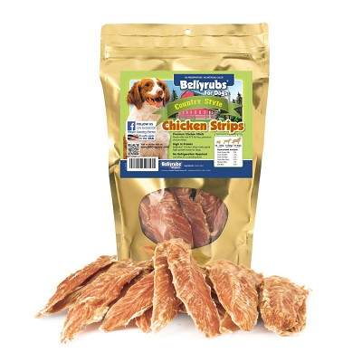 Bellyrubs Country Style Chicken Strips Jerky Dog Treats, 10-oz Bag