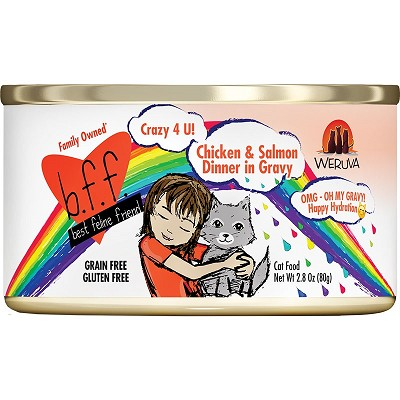 BFF Oh My Gravy! Crazy 4 U! Chicken & Salmon Dinner in Gravy Grain-Free Canned Cat Food, 2.8-oz Tray of 24