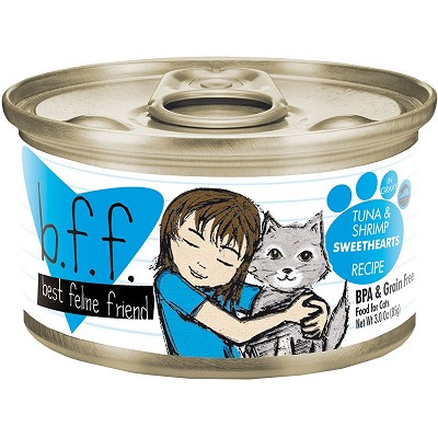 BFF Tuna & Shrimp Sweethearts Recipe in Gravy Grain-Free Canned Cat Food, 3-oz Tray of 24