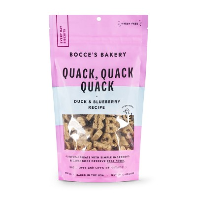 Bocce's Bakery Quack Quack Quack Duck & Blueberry Crunchy Biscuits Dog Treats, 12-oz Bag