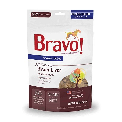 Bravo! Bonus Bites Bison Liver Freeze-Dried Dog & Cat Treats
