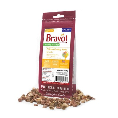 Bravo! Healthy Medley Chicken Medley Freeze-Dried Cat Treats, 1.5-oz bag