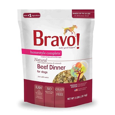 Bravo! Homestyle Complete Beef Dinner Freeze-Dried Dog Food, 2 lb