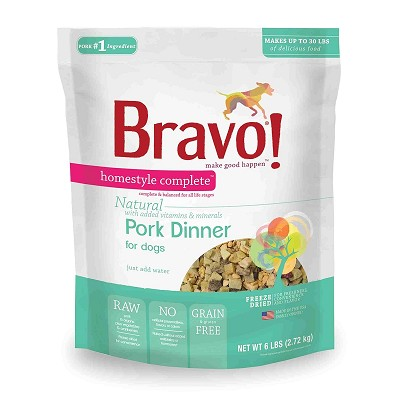 Bravo! Homestyle Complete Pork Dinner Freeze-Dried Dog Food, 6 lb