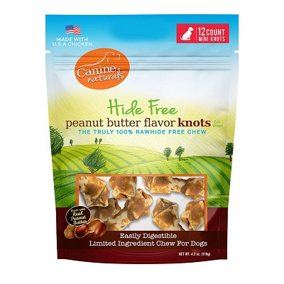 Canine Naturals Hide Free Peanut Butter Recipe Mini Knots Dog Chew Treats, 12-Count Bag