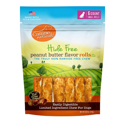 Canine Naturals Hide Free Peanut Butter Small Rolls Dog Chew Treats, 6-Count Bag
