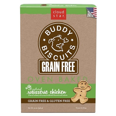 Cloud Star Grain-Free Oven Baked Buddy Biscuits Rotisserie Chicken Flavor Dog Treats