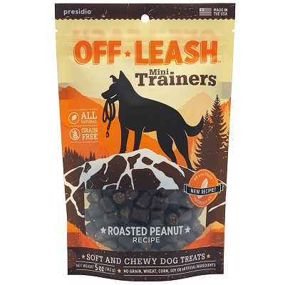 Presido Off-Leash Mini Trainers Roasted Peanut Dog Treats, 5-oz Bag