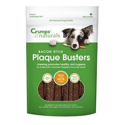 "Crump's Naturals Bacon Style Plaque Busters Dental Dog Treats, 4.5"", Bag of 8"
