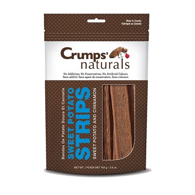 Crump's Naturals Sweet Potato Strips with Cinnamon Dog Treats, 5.6-oz Bag