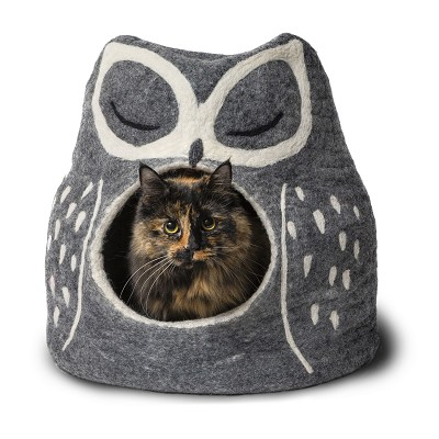 Dharma Dog Karma Cat Wool Grey Owl Cave Bed