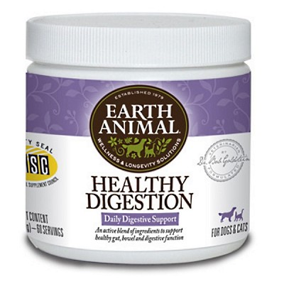 Earth Animal Healthy Digestion Supplement for Dogs & Cats, 8-oz